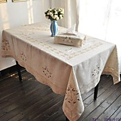 Rectângular Bordado Toalhas de Mesa , Linho MaterialHotel Mesa de Jantar Wedding Party Decoration Banquete de Casamento Jantar Favor