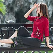 中国風の湾曲したスラックスの臓物を刺繍2017年春と夏の新しいワイドレッグパンツに署名