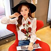 Mujer Boho Bonito Sofisticado Noche Casual/Diario Vacaciones Primavera Verano Blusa,Cuello Camisero Floral Bloques Manga LargaPoliéster