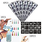 6 piezas de henna negro + 3pcs aplicador + 10CS completa de la plantilla, juego de arte en el cuerpo mehndi, conos de pasta de tatuaje sexy
