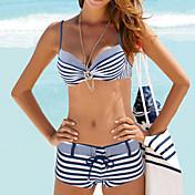 Mujer Halter Bikini Geométrico,Nailon Licra,Rayas