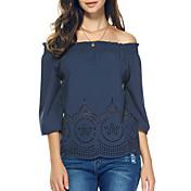 Mujer Moderno Ropa Cotidiana Camiseta,Escote Barco Color sólido Mangas 3/4 Poliéster