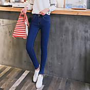firmar 2017 nueva alta cintura delgada significativamente pies pantalones vaqueros del lápiz femenina
