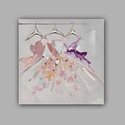Pintada a mano Personas Cuadrado,Clásico Realismo Un Panel Lienzos Pintura al óleo pintada a colgar For Decoración hogareña