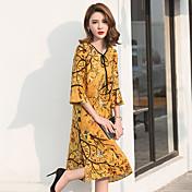 vestido de la muestra 2017 verano nueva impresión retro popular chino de gran tamaño sueltos de seda fina