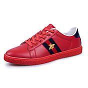 Hombre-Tacón Plano-Confort-Zapatillas de deporte-Exterior Informal-Cuero-Negro Rojo Blanco