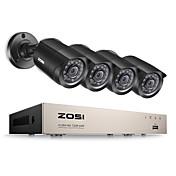 zosi®8 canales 1080n kit de cámara de vigilancia DVR-TVI 4x 1280tvl tiempo del IR cámaras interiores y exteriores
