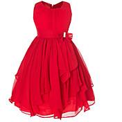 Vestido Chica de Un Color Algodón Poliéster Sin Mangas Otoño Invierno Todas las Temporadas
