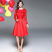 Mujer Boho Línea A Corte Ancho Vestido Un Color Hasta la Rodilla