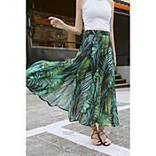 Mujer Simple Playa Festivos Maxi Faldas,Columpio Verano Estampado
