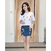Las novias coreanas del estudiante de las yardas grandes flojas de la corto-manga del algodón salvaje coreano de la camiseta de la