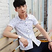 男性' sの半袖夏シャツシャツ韓国スリムビジネスファッションの夏の若者の夏非鉄シャツ