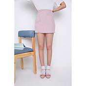 Mujer Tiro Alto Casual/Diario Sobre la Rodilla Faldas,Línea A Verano Un Color