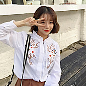 firmar flores 2017 mujeres del resorte coreano camisa de re-artesanal bordados