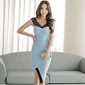 Mujer Línea A Vestido Ropa Cotidiana Clásico,Varios Colores Cuello en V Asimétrico Manga Corta N/A Verano Alta cintura Rígido Medio