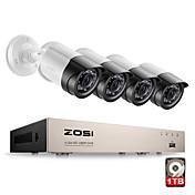Zosi® 4ch 1080p hdmi p2p tvi dvr sistema de vigilancia de salida de vídeo 4pcs 2000tvl 2.0mp ip cámara cctv kits 1tb hdd