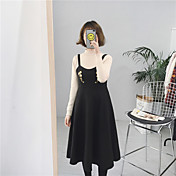 ハーネスに腰の大きなスイングドレス刺繍記号#のウールのドレス