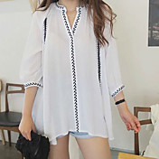 2017 nueva camisa de algodón coreano pliegue retro hoja de bordado con cuello en V y una camisa suelta de largo
