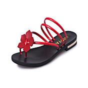 レディース 靴 レザーレット 夏 メリージェーン スリッパ&フリップ・フロップ ウォーキング ローヒール ラウンドトウ フラワー のために ドレスシューズ ブラック シルバー レッド グリーン