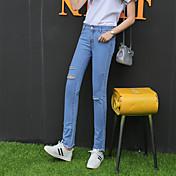符号2017春の新しいパンツの足BF風の穴のジーンズスリムカット腐った女性のパンスト