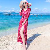 ドレスの胸包まれたドレススリムセクシーなスリットスカートのドレスのビーチリゾートを包みます