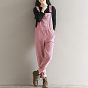 Mujer Sólido Tiro Alto Rígido Corte Ancho Holgado Pantalones,Color sólido N/A Primavera Otoño