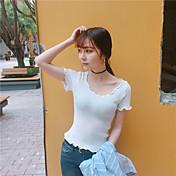 女性の夏のカジュアル半袖Tシャツ小さな緩いニットシャツを底ヘッジ古典的なソリッドカラーの薄い部分に署名