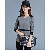 秋の新しい韓国の女性のステッチ綿ラウンドネック長袖Tシャツの女性'ブラウス野生のボトミングシャツwaichuan
