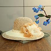 レディース 春 夏 キュート カジュアル ポリエステル 麦わら 純色 麦わら帽 日よけ帽