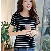 漢方真実2017夏新韓国ファッションスリムラウンドネックストライプ半袖Tシャツ女性
