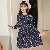 firman 2017 primavera nuevas mujeres coreanas delgadas de la cintura era desgarbado pequeña margarita basa el vestido de impresión