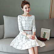 大きなスポット本物のショット春モデルのウエストのドレスは、女性の薄い韓国語バージョンでした' sのチェック柄の長い段落ドレス