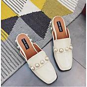 女性用 靴 PUレザー コンフォートシューズ 下駄とミュール ローヒール のために カジュアル ブラック アーモンド