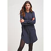 2016秋の新しい女性のシンプルなソリッドカラースリムな長袖のドレスシャツ女性の長いセクション