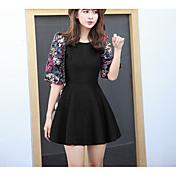 モデルのリアルショット2017春のウールのスリーブのドレスランタンの袖のドレスのドレススカートの女性が遅かった