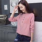 2017 nueva camiseta coreana rayada de la camisa long-sleeved coreana del resorte de la chaqueta bordada floja ocasional de la chaqueta