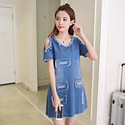 Signo de 2017 verano nuevas mujeres coreanas flojo, falda de dril de algodón denim vestido casual era una falda fina palabra