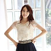 半袖Tシャツガーゼシャツの女性を印刷AMOIビーズのレースのシャツの刺繍シフォンシャツ