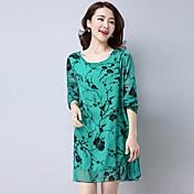 サイン春と夏ハイエンド印刷レトロ韓国の野性気質薄いドレス女性の花の植え付けだった