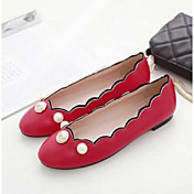 Mujer Zapatos PU Confort Bailarinas Tacón Plano para Casual Blanco Negro Rojo