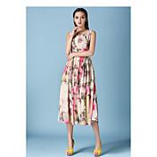Mujer Moderno Corte Swing Vestido Floral Hasta la Rodilla