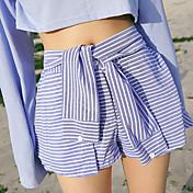 大きなスポット韓国遊び心のシャツの袖のレースのスカートキュロットスカート素敵なスタイル野生のストライプパンツ