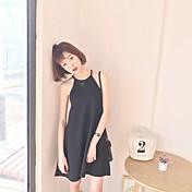 元の春と夏の外部符号著しく薄い黒ドレスザイアオジアン・ハウターストラップドレスブラックノースリーブベストスカート