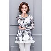 2017春の新しい大きなサイズの女性のレースのシャツの印刷長袖シャツと長いセクション緩いブラウス