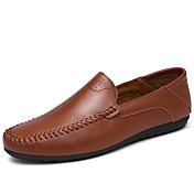 メンズ 靴 レザー 春 夏 ライト付きソール ローファー&スリップアドオン 用途 カジュアル ホワイト ブラック イエロー Brown