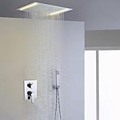 現代風 シャワーシステム LED レインシャワー ハンドシャワーは含まれている with  セラミックバルブ 二つのハンドル三穴 for  クロム , シャワー水栓