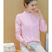 Mujer Clásico Oficina / Carrera Ropa Cotidiana Primavera Otoño Camisa,Escote Chino Color sólido Manga Larga N/A Medio