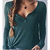 Mujer Sexy Uso Diario Escuela Cita Primavera Verano Camiseta,Cuello en V Color sólido Manga Larga N/A Medio