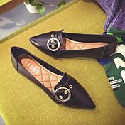 Mujer-Tacón Plano-Confort-Zapatos de taco bajo y Slip-Ons-Informal-PU-Negro Marrón Verde