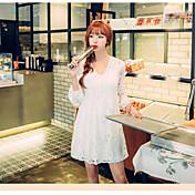 vestido de la muñeca nueva falda de la cintura con cuello en V signo otoño mujeres del vestido coreano de encaje de manga larga sección